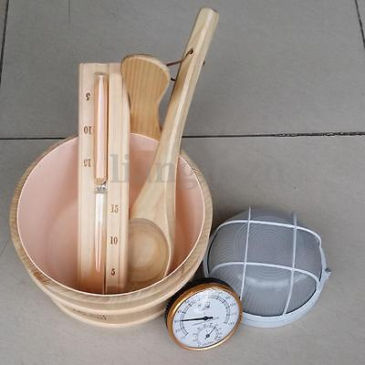 # Fast Delivery # 6 Piece Pine Wood Sauna Accessory Kit Bucket Hygrometer