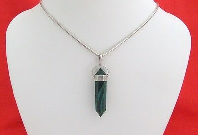 925 Sterling Silver Green Malachite Point Pendant & Serpentine Link Necklace