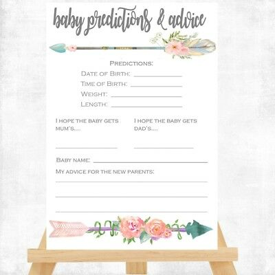 Baby Shower Game - BOHO BABY PREDICTION CARDS  14X10cm  Baby girl or boy unisex
