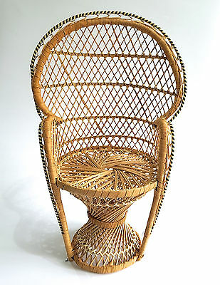 Handmade Wicker Woven Rattan Peacock Style Doll Teddy Bear Display Chair- VGC