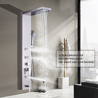 Brushed Nickel Shower Panel Rainfall Waterfall Massage Tower System with Jet Tap