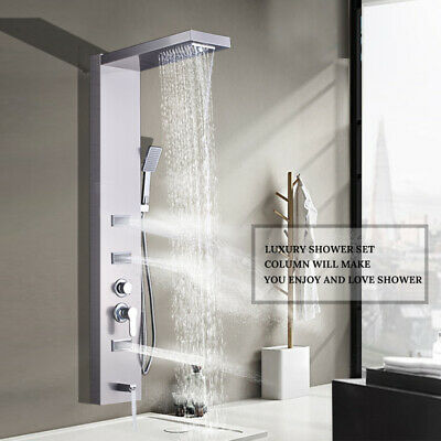 POIQIHY Brushed Nickel Shower Panel Tower Rain Waterfall Massage Body System Jet