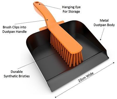 New Heavy Duty Metal Dustpan And Brush Steel Dust Pan And Stiff Pvc Brush