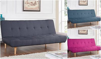 New Fabric Padded Sofa Bed 3 Seater Recliner Suite Designer Sofabed Wooden Legs
