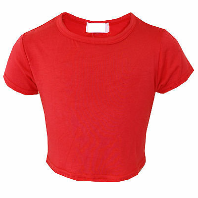 Girls Plain Crop Top Short Sleeve Kids Fashion Party Tops Red New 7-13 Year