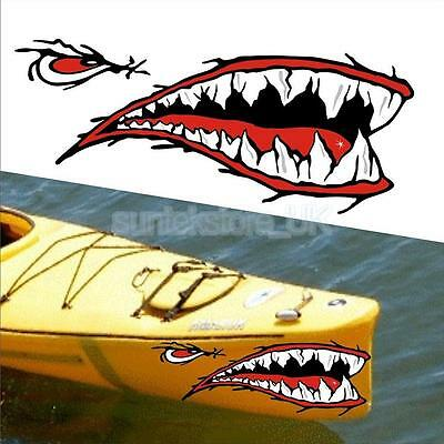 2 Shark Teeth Mouth Stickers Kayak Boat Car Waterproof Funny Decals