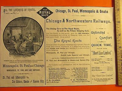 Antique Vintage 1886 Chicago Northwestern Railway Minneapolis Ephemera Print Ad