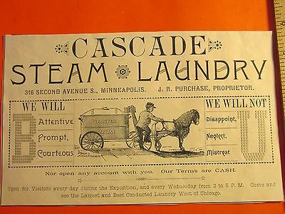 Antique Vintage 1886 Cascade Steam Laundry Minneapolis Ephemera Print Ad