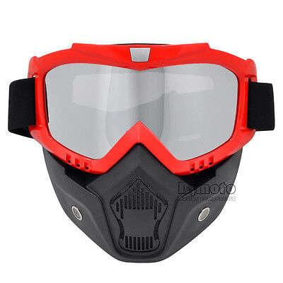 Detachable Goggles Nose Face Mask Modular Helmet Shield Motorcycle Bike Riding