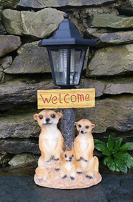 Solar Powered Decorative Garden Ornament meerkats Light Up Lantern Welcome Sign