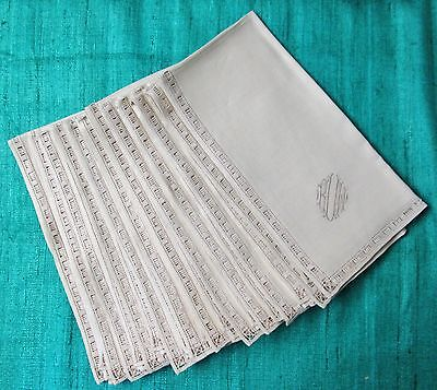 Antique 12 Elegant Linen Napkins r V w Monograms Ornate Hemstitching Never Used