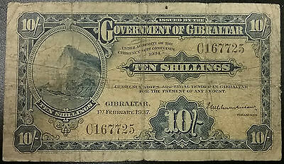 1937 GIBRALTAR 10 Shillings P14a 2/1/1937 Fine Banknote Original Money Currency