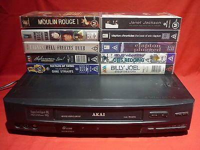 Akai Vs-G415 Video Vhs Vcr Player No Remote Works Well + 10 Music Videos No Post