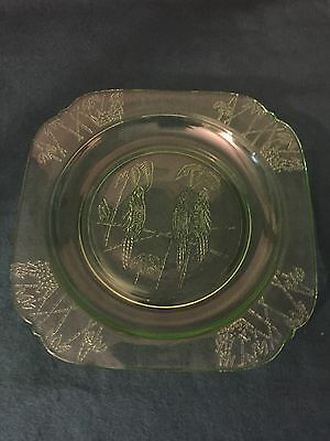 "Vintage Green Federal Sylvan PARROT Salad Plate 7.5"" Depression Glass RARE!"