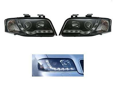 Audi A6 2001-2004 Black Style LED DRL Projector Headlights Day Running Lights