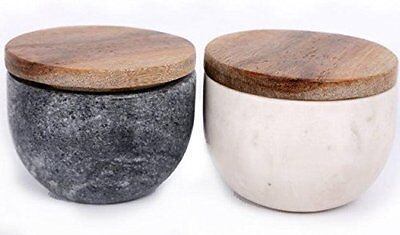 Marble Bowl with Wood Lid Sml Spice Condiment Salt & Pepper Kitchen or Bathroom