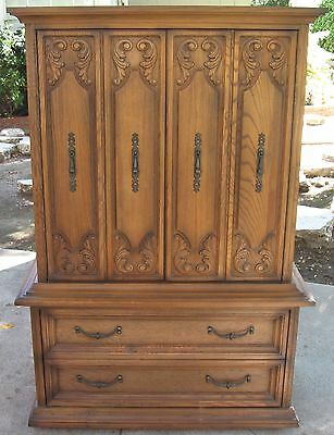Vintage Gentleman's ARMOIRE Dresser CHEST of DRAWERS Solid Wood 1960s