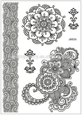 Black Gothic Henna Temporary Tattoo Kit Rose Shoulder Tattoo Sticker Arm Body UK