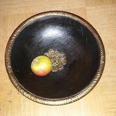Large Hand Turned In India Wooden Bowl With Intricate Brass Metal Inlay