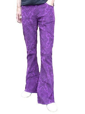 FLARES Purple Paisley Mens Bell Bottoms Corduroy Pants vtg Hippie trousers 60's