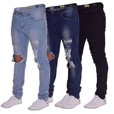 244d3a365e08 NEW MENS SKINNY Jeans Extreme Open Rips Frayed Cutaway Knee Ripped Stretch  Denim -  19.75