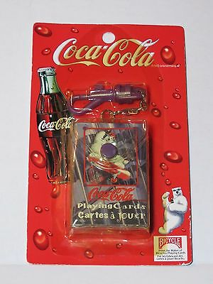 NEW Sealed Coca Cola Mini Playing Cards Polar Bear with Keychain Bicycle Brand