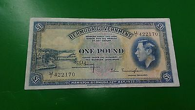 1937 Bermuda Government One Pound p-11B  King George VI.VF