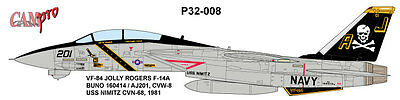 CAM PRO DECAL, 1/32 SCALE, P32-008, VF-84 Jolly Rogers, F-14A