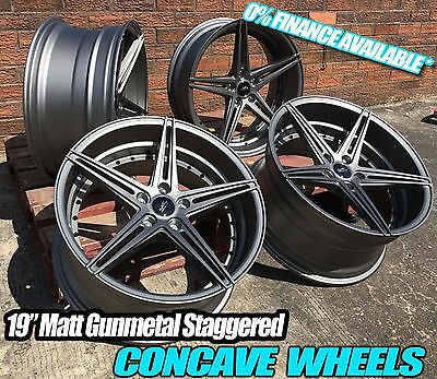 "19"" M3 M4 M5 Staggered Concave Alloy Wheels Black Rivets Bmw 2 3 4 5 Series"