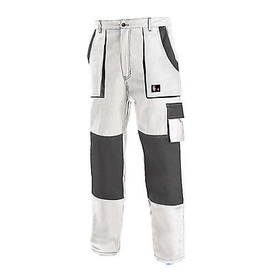 Work Trousers Painters Decorators Pants Combat Style Cotton White All Size UK.