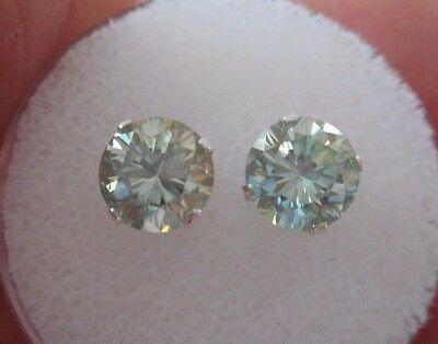 EARRING PAIR SILVER 1.62 TCW .81 CT VVS1 6.05mm ICY AZURE BLUE  ROUND MOISSANITE