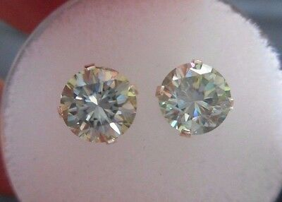 EARRING PAIR SILVER 1.66 TCW .84 CT VVS1 6.15mm ICY AZURE BLUE  ROUND MOISSANITE