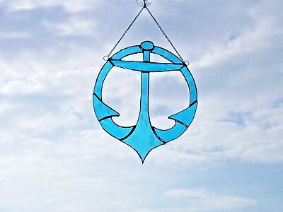 Stained Glass handmade ships anchor Sun-catcher