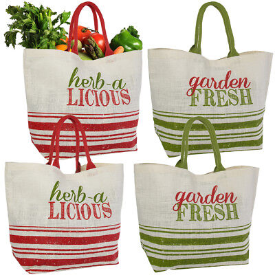 Set of 4 Reusable Shopping Bags Large Burlap Grocery Farmers Market Tote Handles
