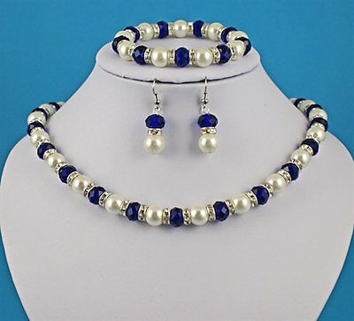 Sapphire & Cream pearl style with crystal detail necklace earrings bracelet set