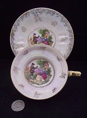 3 Footed  White Opalescent Romantic Love Story   Japan Cabinet Tea Cup Saucer