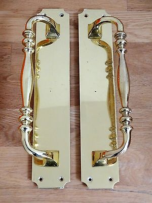 "2nd PAIR 12"" HEAVY CAST BRASS DOOR PULL HANDLES PLATES KNOBS GRAB"