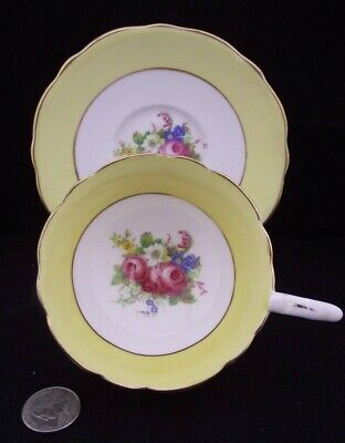 White & Gold And Yellow Floral Royal Stafford Cabinet Tea Cup And Saucer