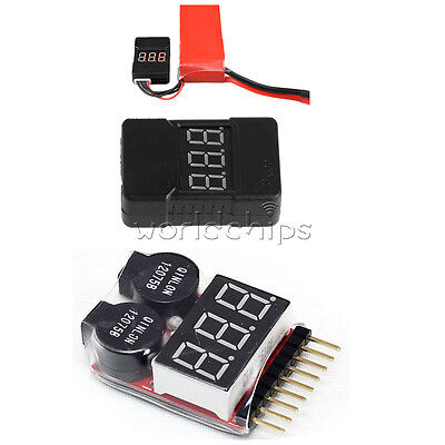 BX100 2 In1 1-8S Lipo Li-ion Battery Low Voltage Tester Buzzer Alarm Dual Speak