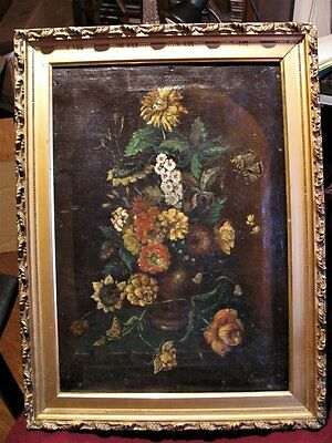 Antique Floral Still Life Oil On Canvas Painting Signed 18th-19th Century