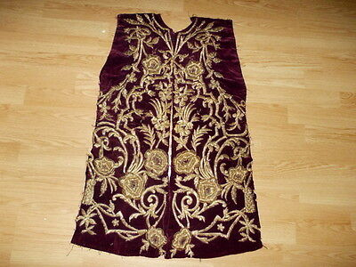 ottoman  velvet  women jacket parts with gold metallic threads