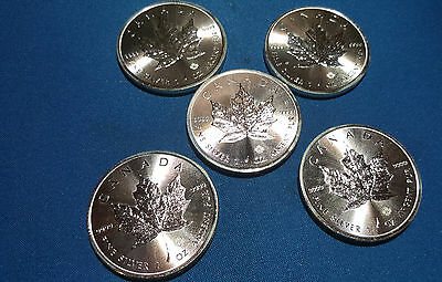 Lot of FIVE - 2016 Canadian $5 Silver Maple Leaf  .9999 pure silver