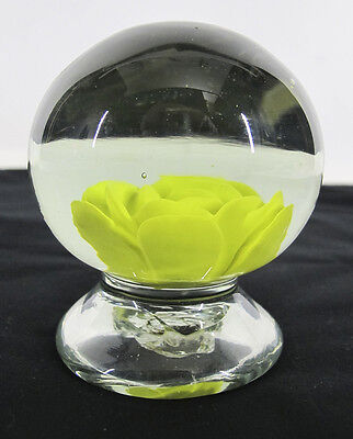 Antique 19th c Yellow Crimp Rose Footed Art Glass Paperweight Pontil NR #23 yqz