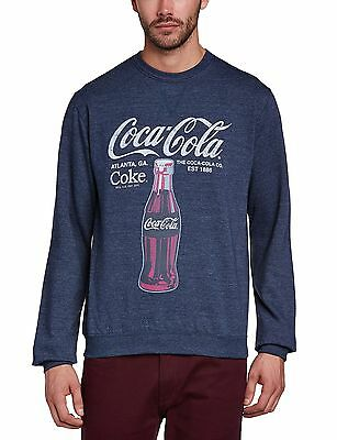 (TG. Large) Coca Cola - Felpa con scollo tondo, Uomo, Blue (Heather (G2b)