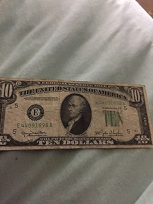 1950 $10.00 Federal Reserve Note Circulated