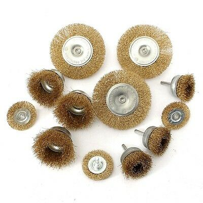 12pcs Wire Wheel Brush Cup And Flat Crimped Steel Drill Attachment Brushes Sandi