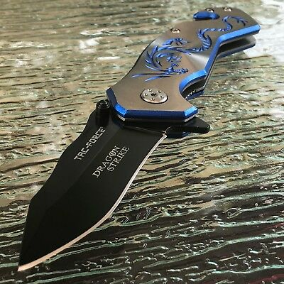 Tac Force Spring Assisted Blue Silver Dragon  Tactical Folding Pocket Knife 8""