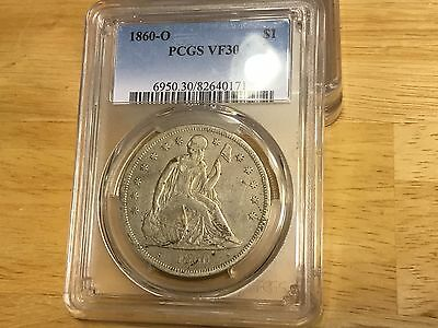 1860 O SEATED LIBERTY Dollar PCGS VF30 FREE SHIPPING! SELL BELOW WHOLESALE VF20