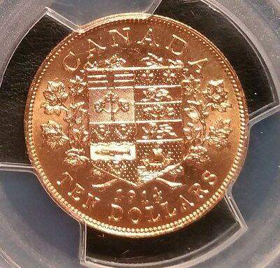 1914 Canada Gold Reserve $10 George V PCGS MS63