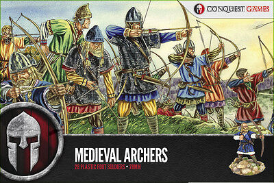 Conquest Games 28 Hard Plastic Medieval Archers 28mm Scale Miniatures